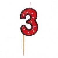 """Číslová sviečka na špajdli """"3"""" 50 mm [1 ks]"""