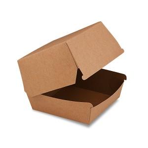 Box na hamburger hnedý 11 x 11 x 9 cm, nepremastiteľný [50 ks]