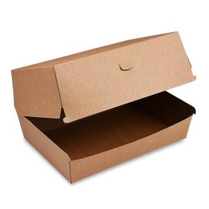 Box na hamburger PLUS, 19,5 x 13,5 x 10 cm, hnedý, nepremastiteľný [50 ks]