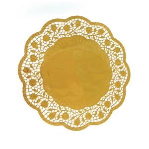 Dekoračné krajky okrúhle, zlaté Ø 32 cm [4 ks]