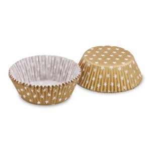 Cukr. košíčky zlaté s bielymi hviezdičkami priemer 50x30mm [40ks]