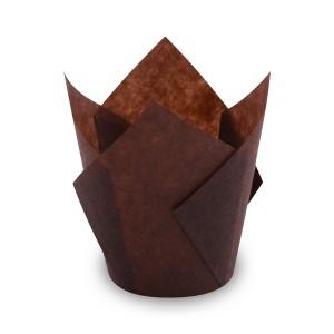 Cukrárenské košíčky TULIP hnedé Ø 5 x 8,5 cm (16 x 16 cm) [100 ks]