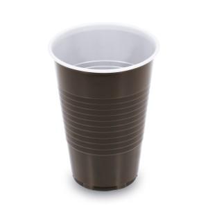 Kávový pohár hnedo-biely 0,2 l -PP- (Ø 70 mm) [100 ks]
